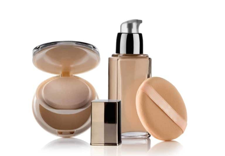 Cosmetic liquid foundation with powder on white back
