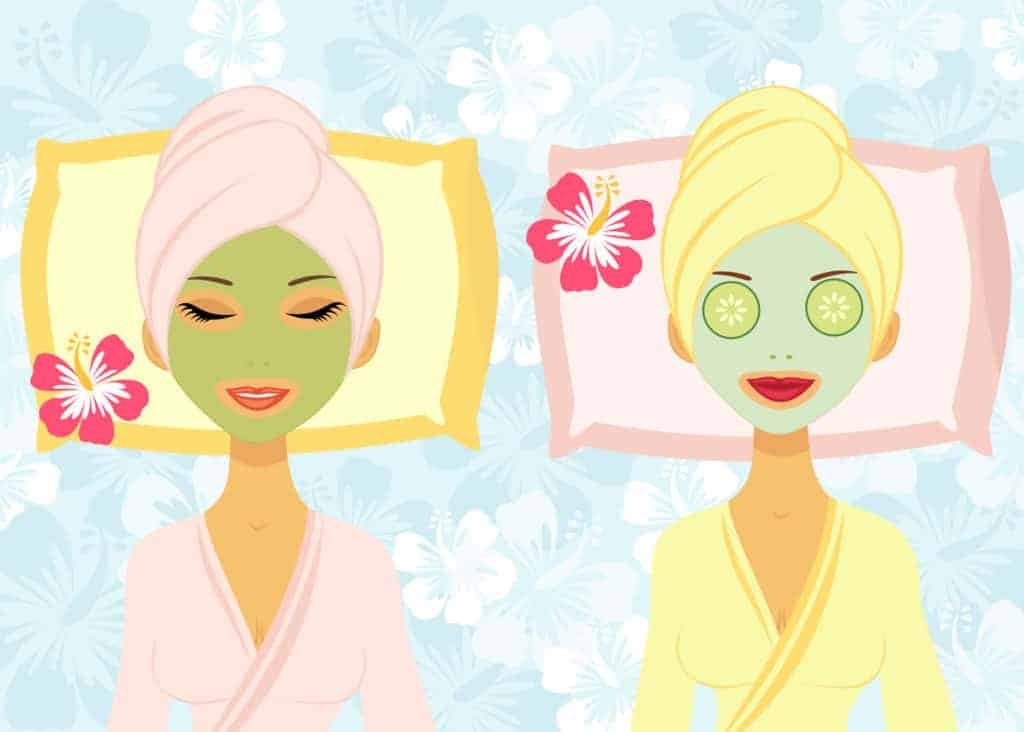 Two women enjoying facial treatment