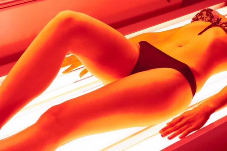 Woman in collagen solarium