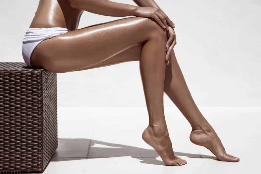 Woman with tanned legs.