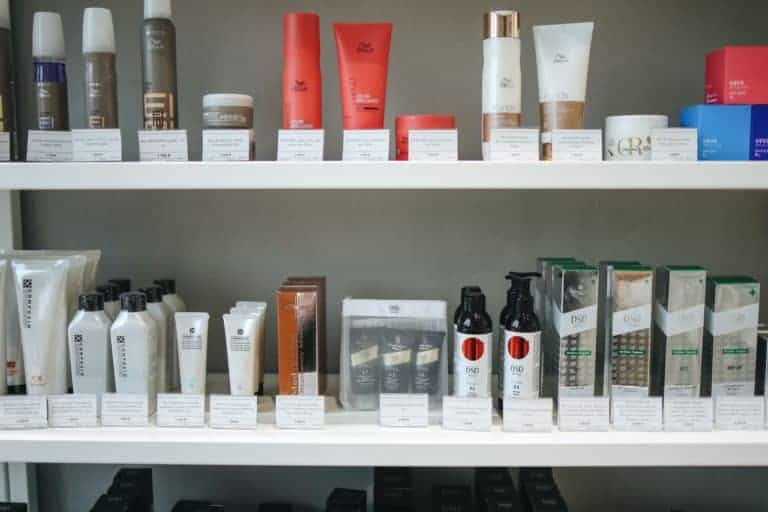 many different skin care products on shelves